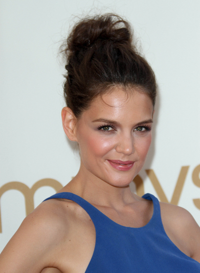 Katie Holmes Tousled, Chic, Brunette Updo