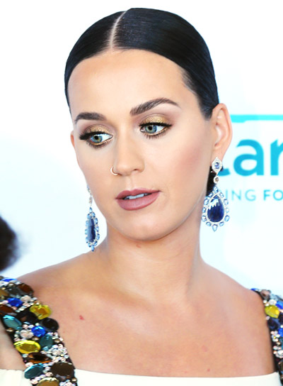 Katy Perry's Long, Black, Straight, Sophisticatd Updo Hairstyle