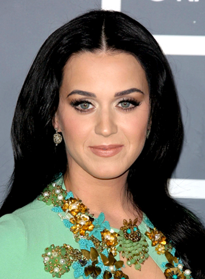 Katy Perry's Long, Black, Straight, Formal Hairstyle