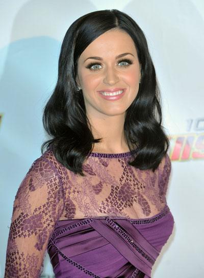 Katy Perry Medium, Wavy, Sophisticated, Black Hairstyle