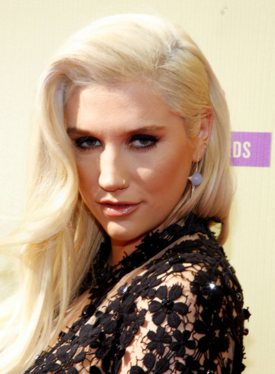 Ke$ha's Long, Wavy, Romantic Blonde Hairstyle