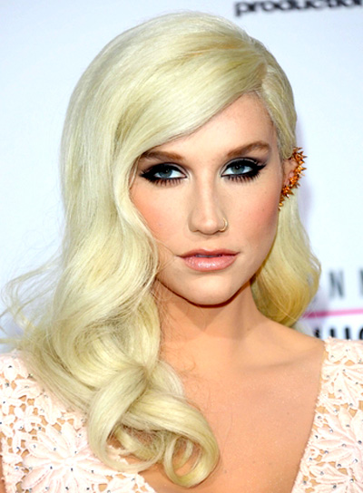 Ke$ha's Long, Blonde, Romantic, Wavy Hairstyle