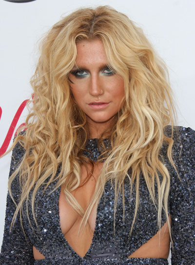 Ke$ha Long, Wavy, Tousled, Edgy Hairstyle