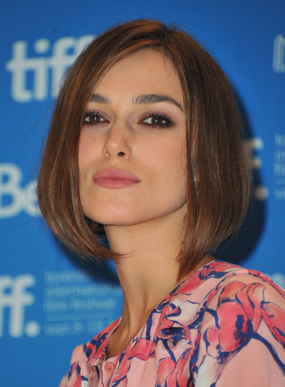 Keira Knightley Chic, Straight, Edgy, Brunette Bob