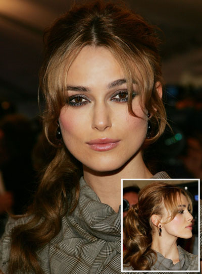 Keira Knightley Curly, Brunette Ponytail with Bangs and Highlights