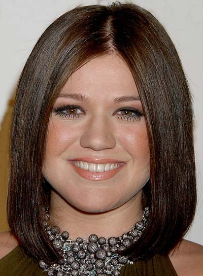 Kelly Clarkson Straight, Brunette Bob