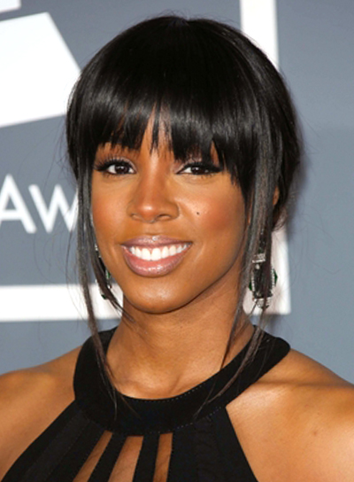 Kelly Rowland's Black, Straight, Updo Hairstyle with Bangs