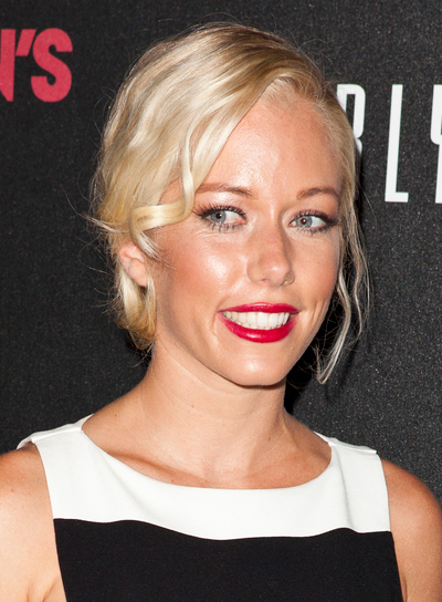 Kendra Wilkinson's Wavy, Romantic, Blonde, Updo Hairstyle