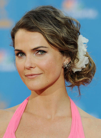 Keri Russell Curly, Romantic, Brunette Updo