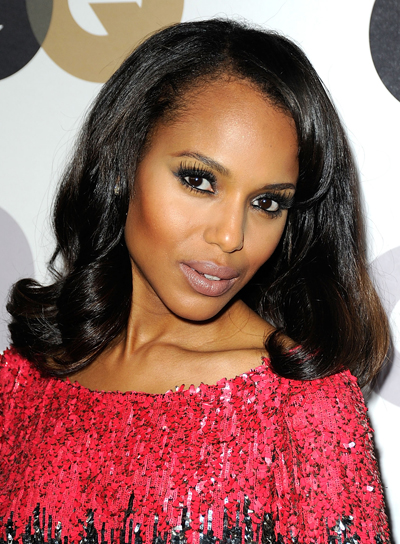 Kerry Washington Medium, Sophisticated, Romantic, Black Hairstyle