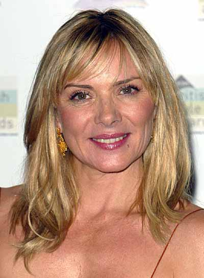Kim Cattrall Medium-Length Hairstyle for Square Faces