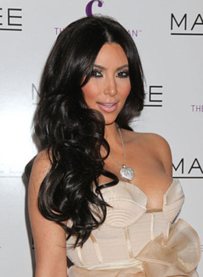 Kim Kardashian Curly, Sophisticated, Black Hairstyle