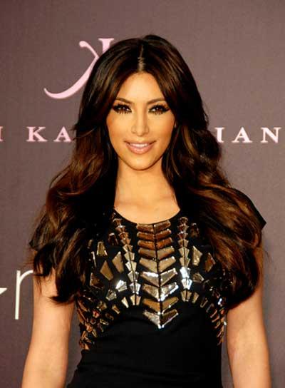 Kim Kardashian Layered, Brunette Hairstyle