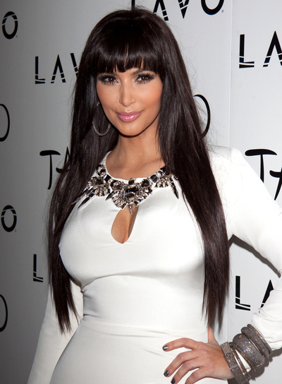 Kim Kardashian Long, Straight, Black Hairstyle with Bangs