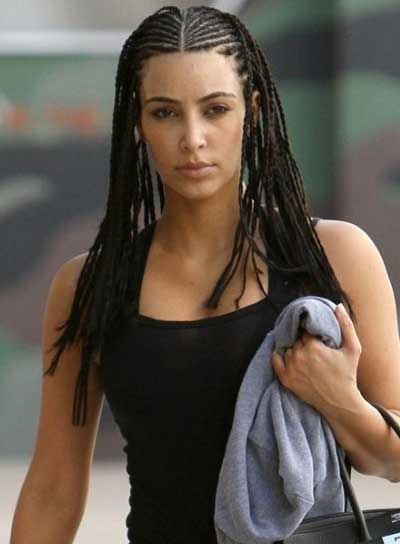 Kim Kardashian Long, Black, Funky Hairstyle with Braids and Twists