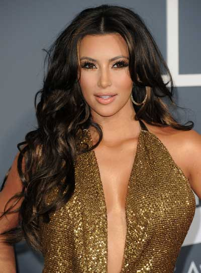 Kim Kardashian Long, Sexy, Layered, Curly Hairstyle