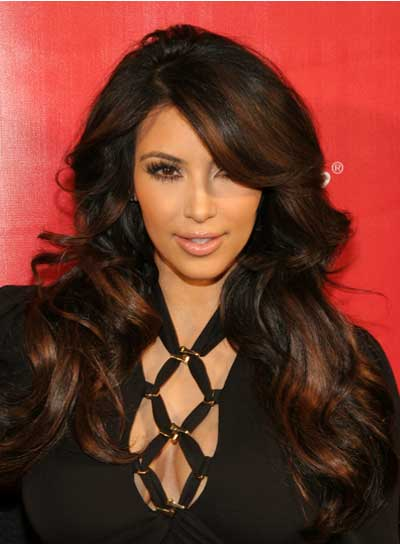 Kim Kardashian Long, Wavy, Brunette Hairstyle with Highlights