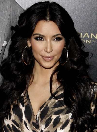 Kim Kardashian Long, Wavy, Sexy, Black Hairstyle