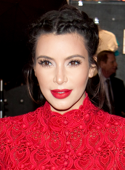 Kim Kardashian's Romantic, Brunette, Updo Hairstyle with Braids and Twists