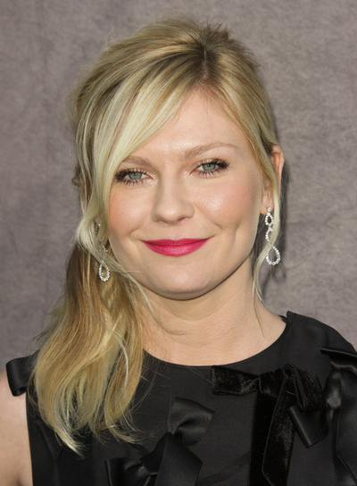 Kirsten Dunst Medium, Sexy, Blonde Half Updo with Bangs