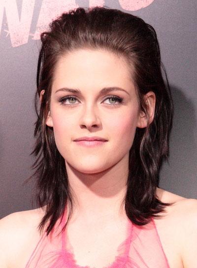 Kristen Stewart Edgy, Medium, Brunette Hairstyle