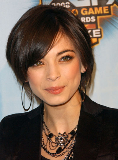 Kristin Kreuk Straight, Romantic, Brunette Updo with Bangs