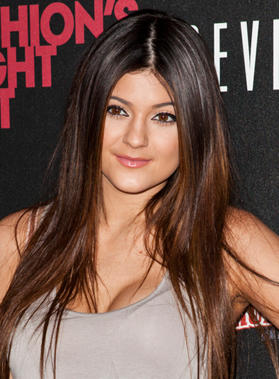 Kylie Jenner's Long, Straight, Brunette, Hairstyle with Highlights