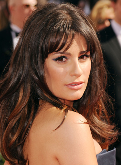Lea Michele Sexy, Tousled, Brunette Hairstyle with Bangs
