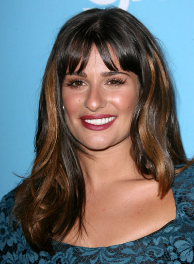Lea Michele Brunette Hairstyle with Highlights and Bangs