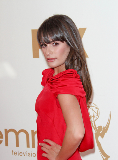 Lea Michele Long, Straight, Layered, Brunette Hairstyle with Bangs