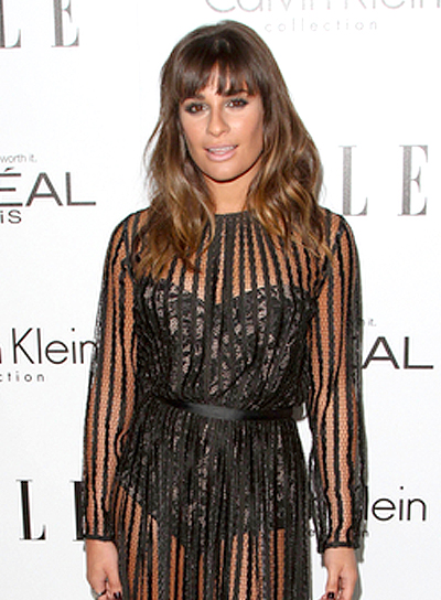 Lea Michele's Sexy, Brunette, Wavy Hairstyle with Bangs