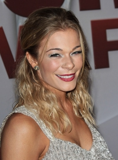 LeAnn Rimes Medium, Wavy, Romantic, Blonde Half Updo