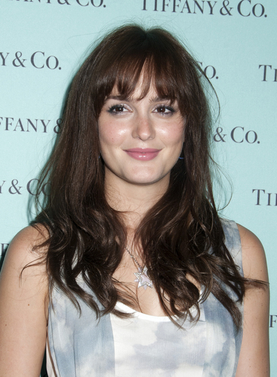 Leighton Meester Long, Tousled, Sexy Brunette Hairstyle with Bangs