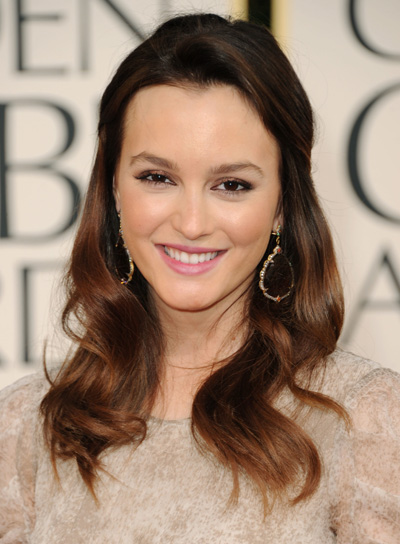 Leighton Meester Long, Romantic, Wavy, Brunette Half Updo