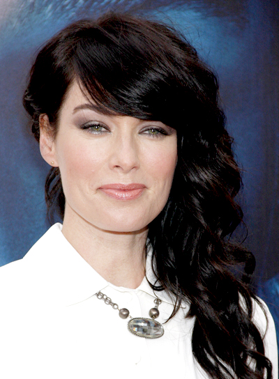 Lena Headey's Long, Curly, Romantic Hairstyle with Bangs