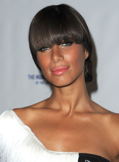 Leona Lewis Straight, Sophisticated, Brunette Updo with Bangs