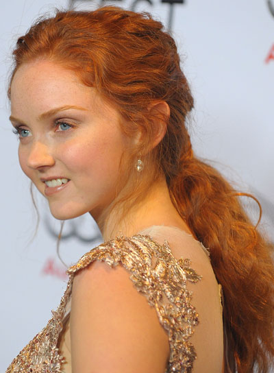 Lily Cole Long, Wavy, Thick, Red Hairstyle