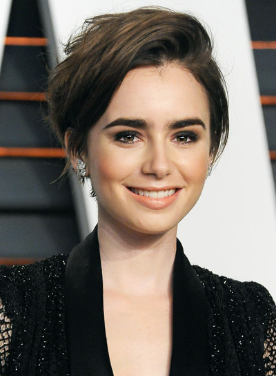 Lily Collins Short, Straight, Brunette, Edgy Hairstyle