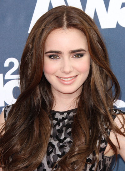 Lily Collins Long, Sophisticated, Brunette Hairstyle