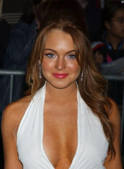 Lindsay Lohan Wavy Half Updo with Bangs