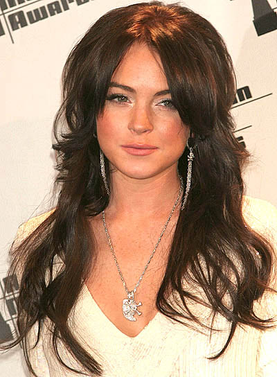 Lindsay Lohan Long, Layered, Brunette Hairstyle with Bangs