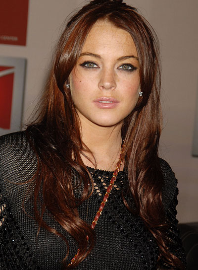 Lindsay Lohan Long, Wavy, Brunette Hairstyle