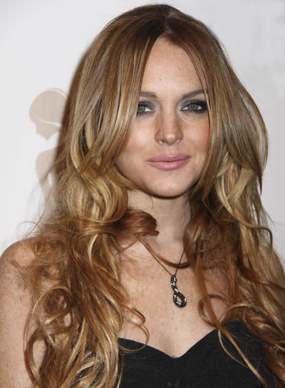 Lindsay Lohan Long, Wavy, Red Hairstyle