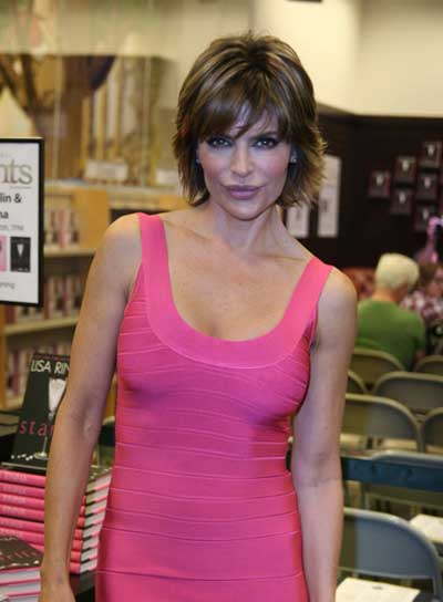Lisa Rinna Brunette Bob with Highlights and Bangs