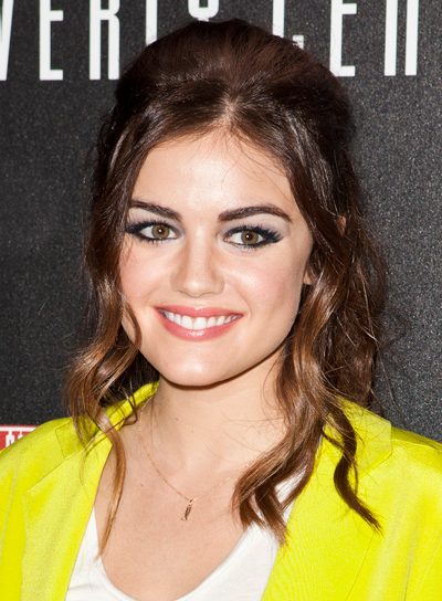Lucy Hale's Long, Wavy, Brunette, Ponytail Hairstyle