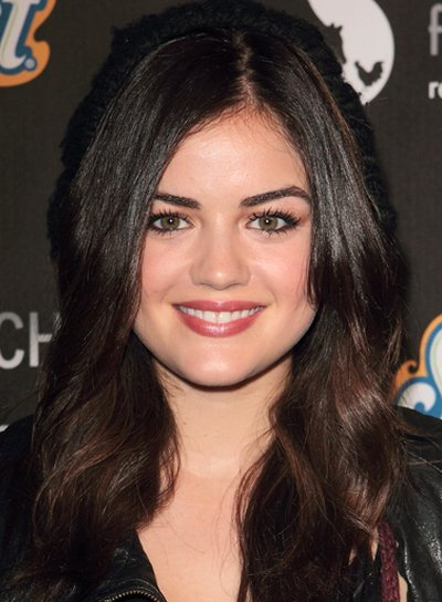 Lucy Hale's Long, Wavy, Romantic, Brunette, Hairstyle