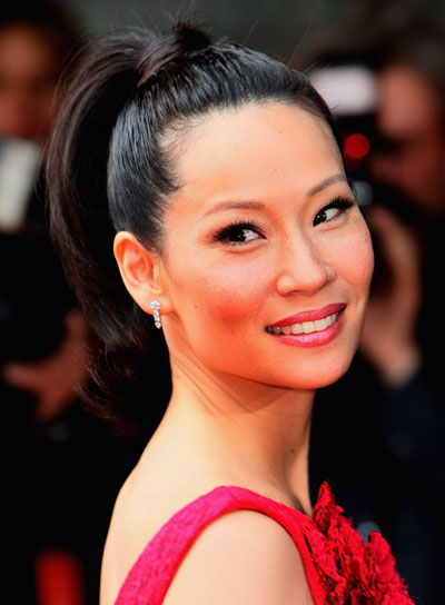 Lucy Liu Straight, Chic, Black Ponytail