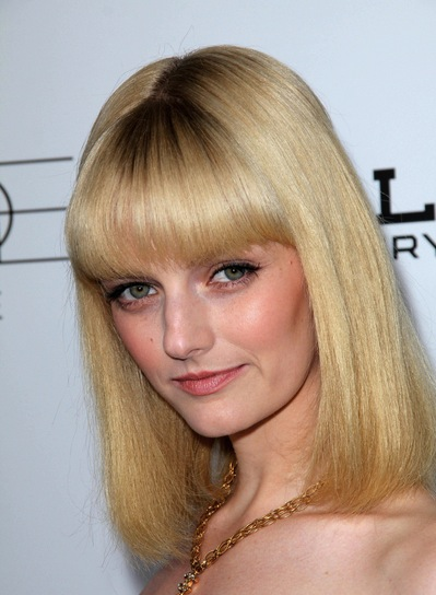 Lydia Hearst Medium, Straight, Blunt, Blonde Hairstyle with Bangs