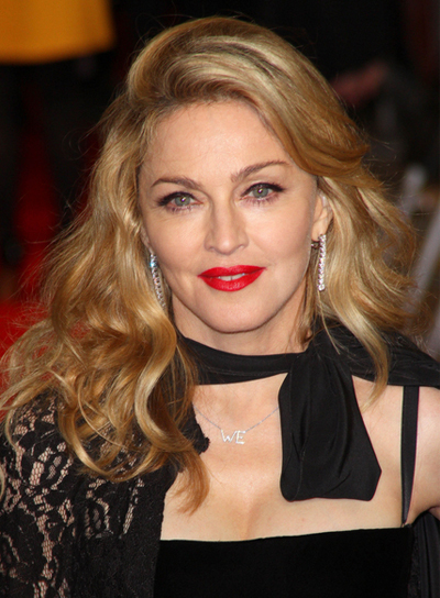 Madonna Medium, Wavy, Tousled, Sexy, Blonde Hairstyle