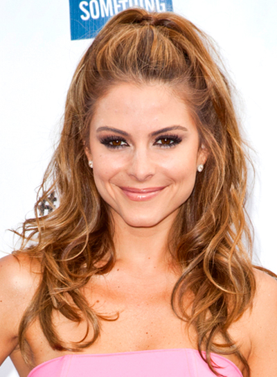 Maria Menounos' Long, Tousled, Wavy, Half Updo Hairstyle